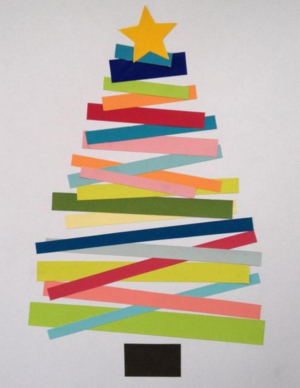Scrap Paper Christmas Tree Craft.