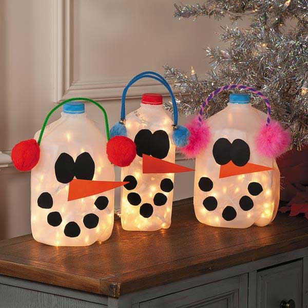 Milk Jugs Snowmen Lanterns.