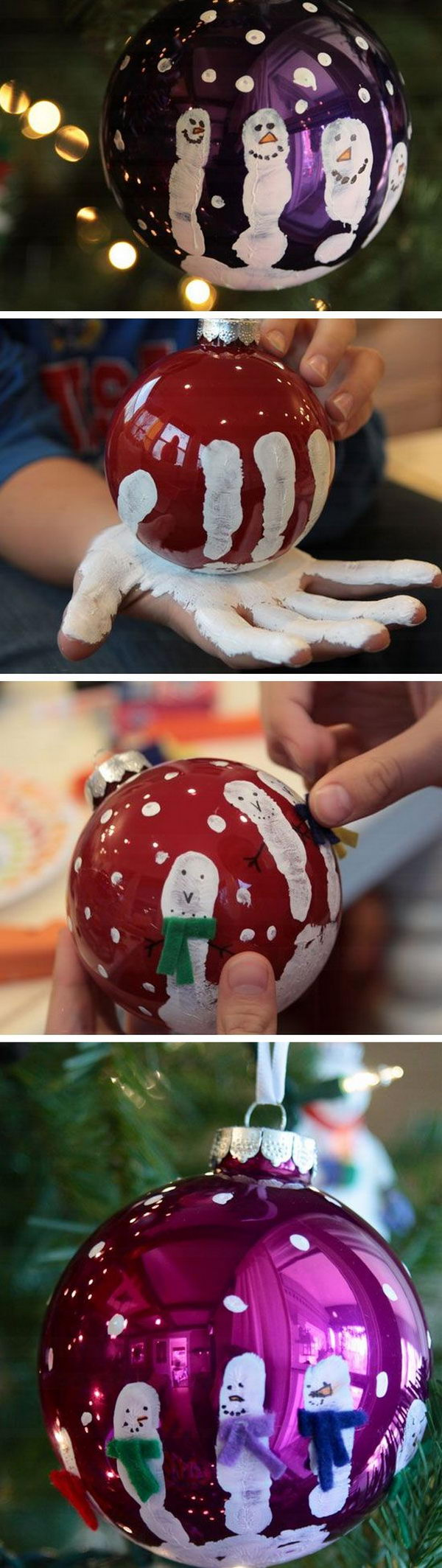 Easy Fingerprint Snowmen Ornaments.