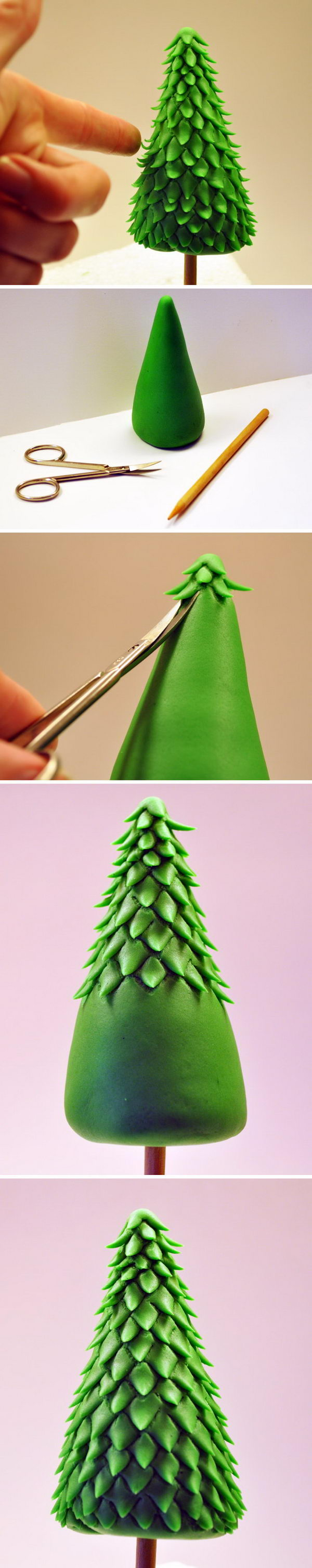 DIY Fondant Christmas Tree for Cakes at Christmas Party.