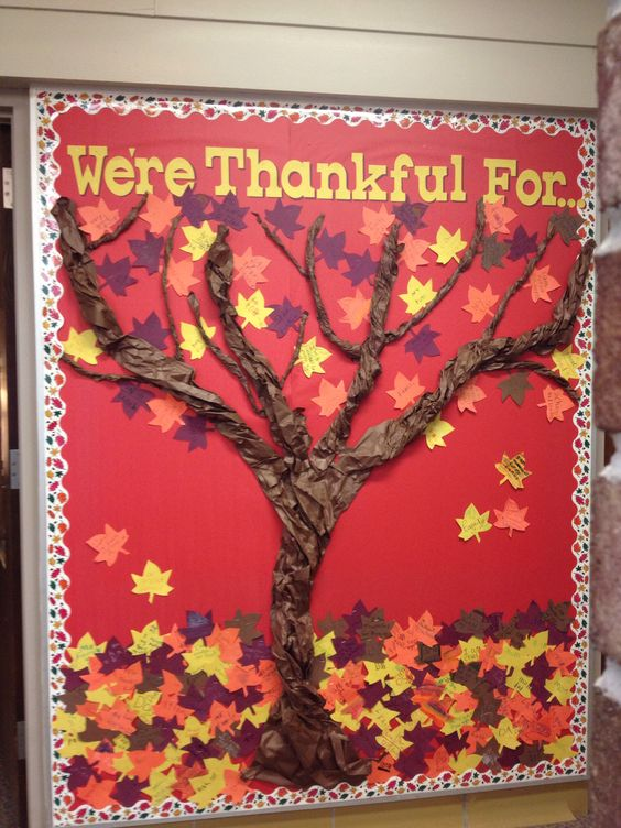 Twist Butcher Paper to Make Tree Trunk and Branches for The Thanksgiving Bulletin Board.