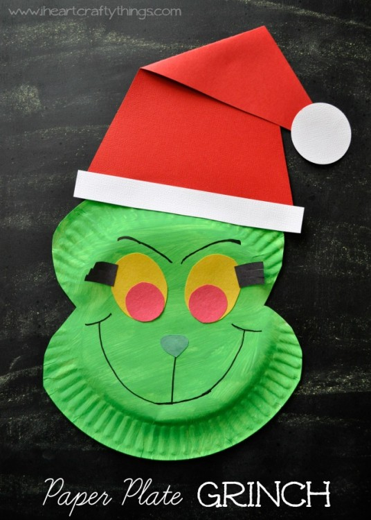 Paper Plate Grinch Craft.