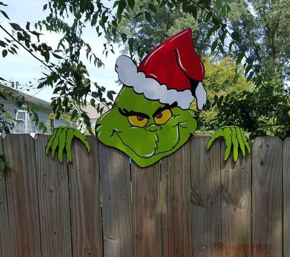 The Grinch is Coming Over The Christmas   Fence Climber.
