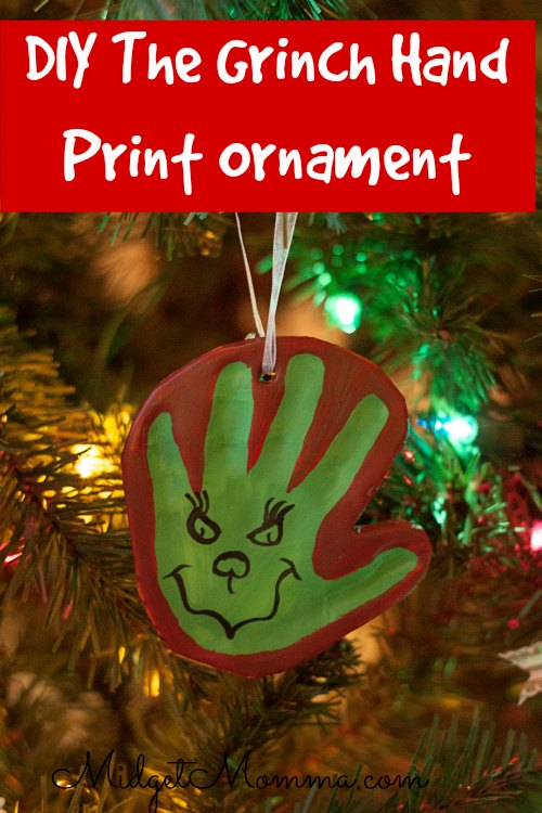 The Grinch Hand Print DIY Clay Ornament.