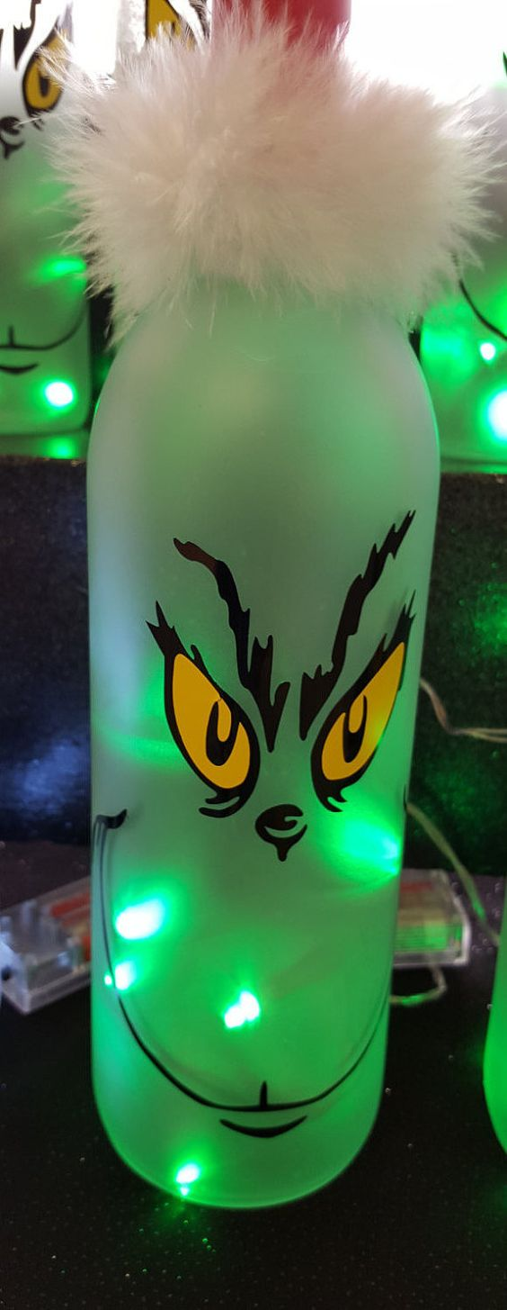 Grinch Lighted Wine Bottle.