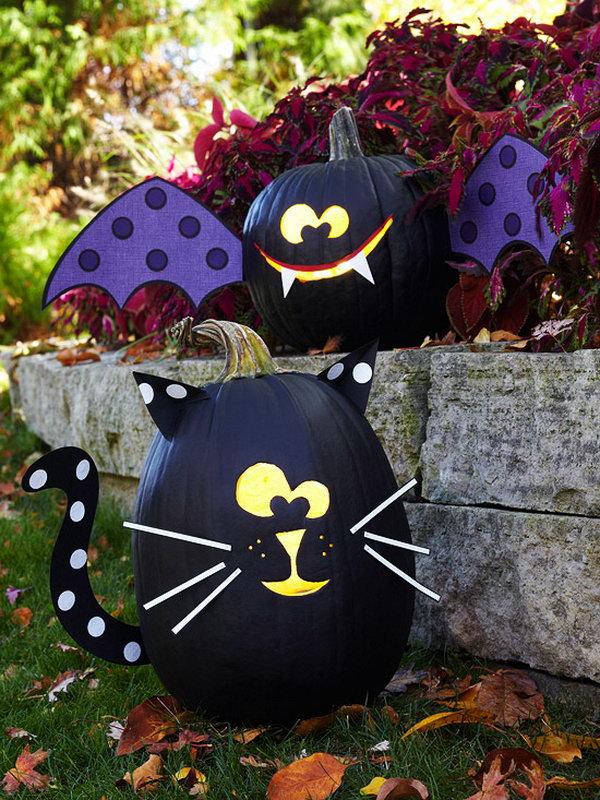 Bat and Cat Pumpkins.