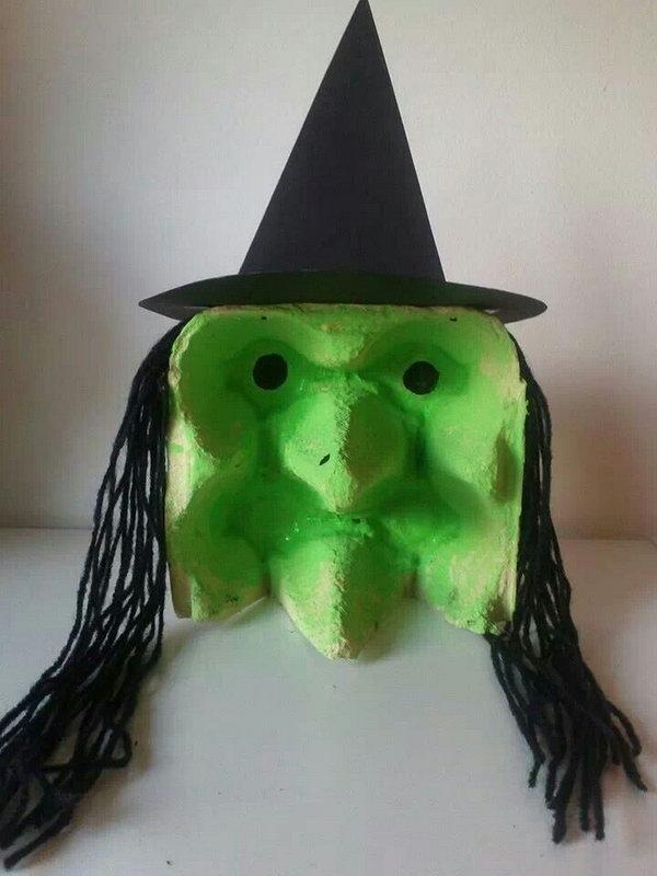 DIY Spooky Egg-Carton Witch.
