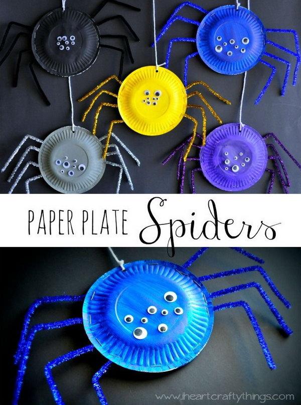 Super Fun Paper Plate Spider Craft .