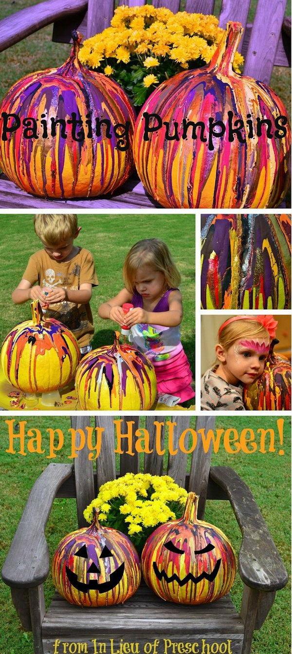 Fun Pumpkin Drip  Painting Idea for Kids .