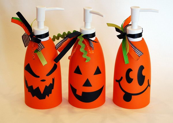 DIY Jack-O-Lantern Soap Dispensers .