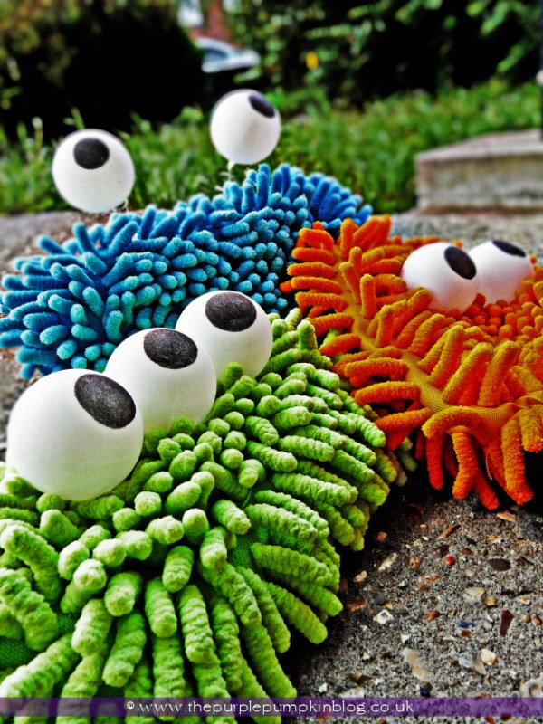 DIY Monsters Made from Microfibre Cloths and Ping Pong Balls.
