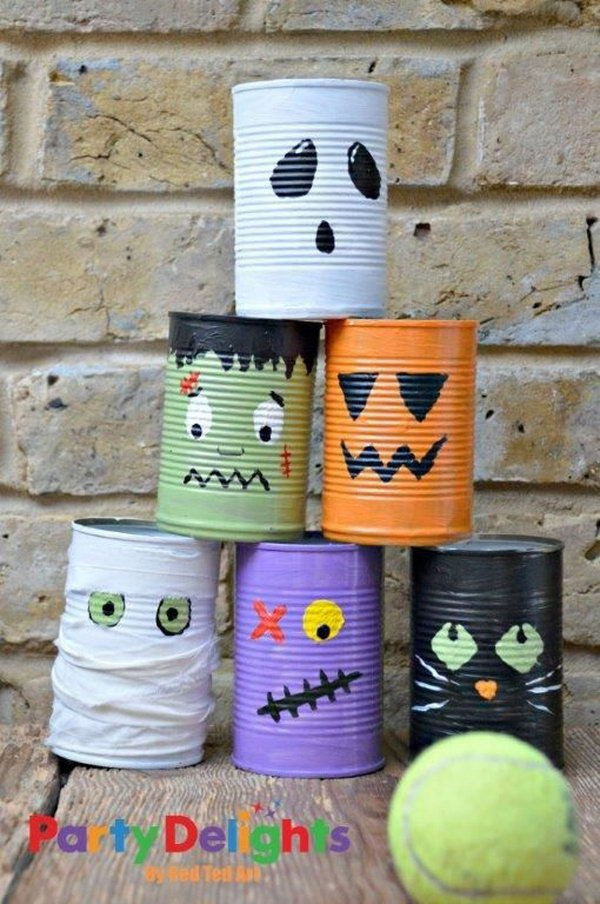 Halloween Tin Can Bowling.