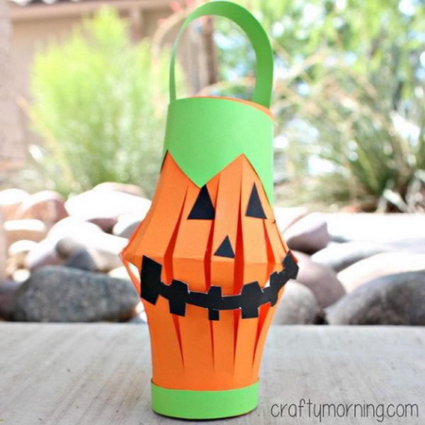 Easy to Make Pumpkin Toilet Paper Roll Lantern.