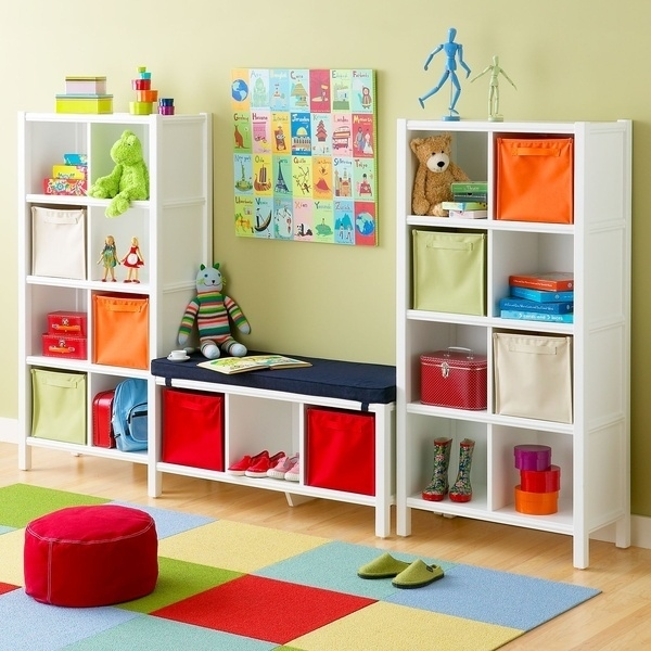Bench Seat Between Two Bookshelves for Seating and Storage.