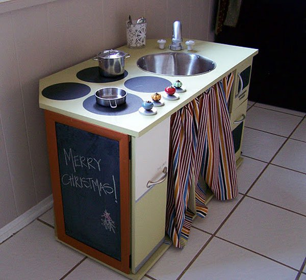 DIY Play Kitchen Built from a Desk.