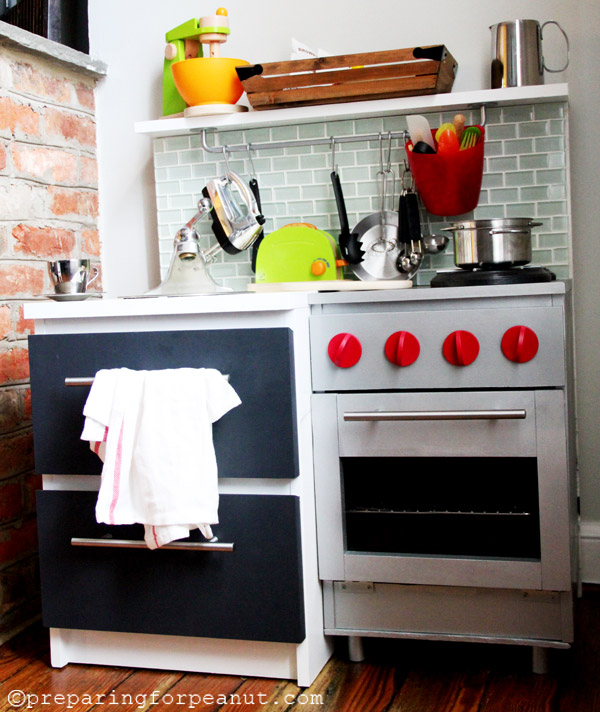 IKEA Nightstand Hack to be DIY Play Kitchen. See more details