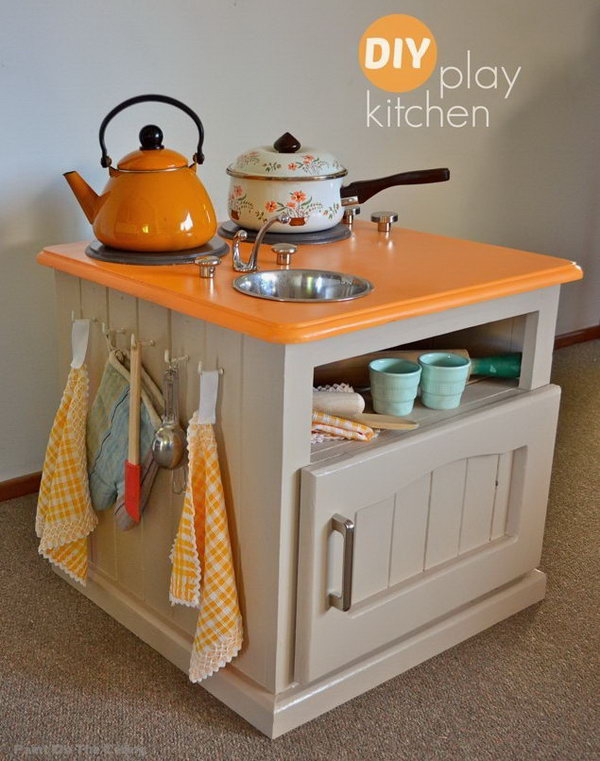 DIY Modern Play Kitchen. See the details