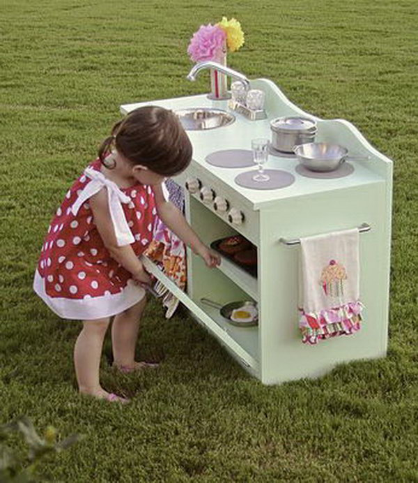 DIY Beautiful Play Kitchen for Little Girls. See more details