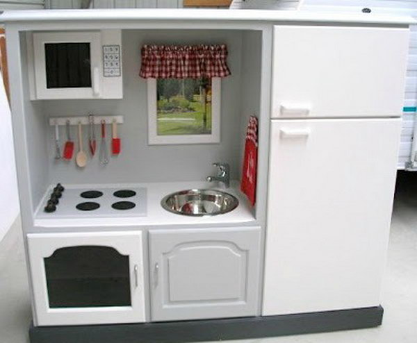 TV unit turned into a play kitchen. See how
