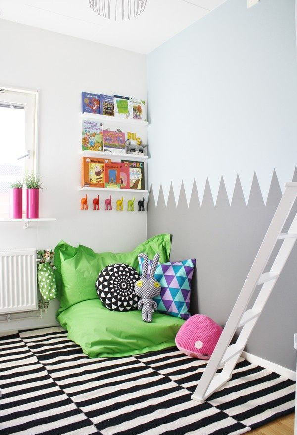 Black And White Kids Reading Corner