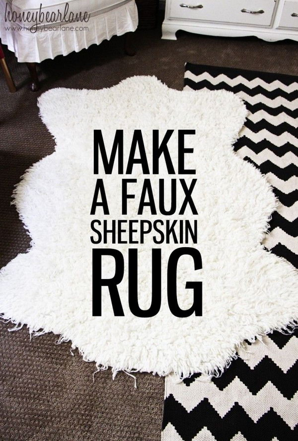 DIY Faux Sheepskin Rug. Make your own gorgeous and classy faux sheepkin rug works for either baby boy or girl's room.