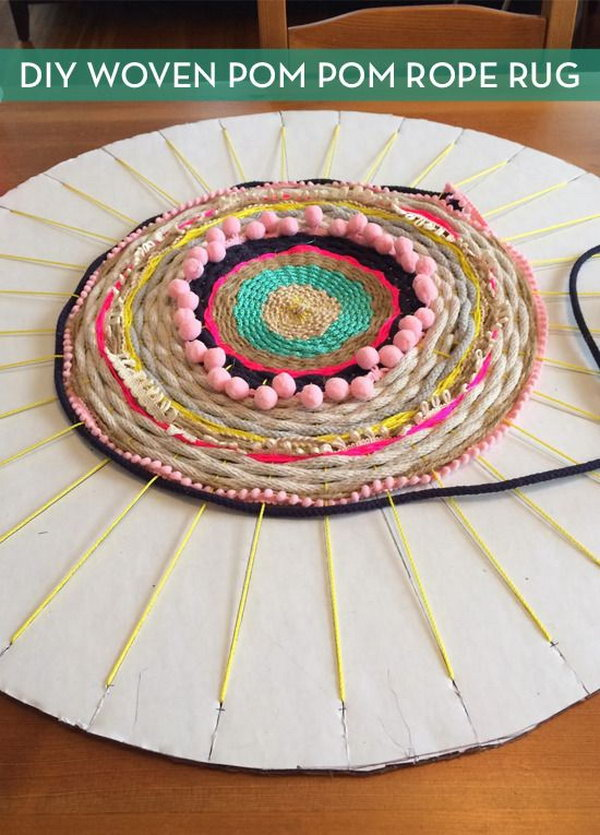 Woven Rug using a Cardboard Loom. Detailed tutorial on how to make a pretty rug from old t shirts, on a cardboard loom or hula hoop loom!