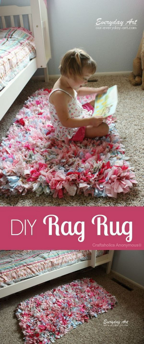 DIY Rag Rug Made from Fabric Scraps. This rug was made from fabric sraps! Love it.