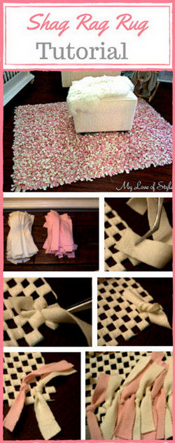 DIY Pink and Ivory Shag Rag Rug. It's a good way to rock the classy and glam look with this pink and ivory shag rag rug.