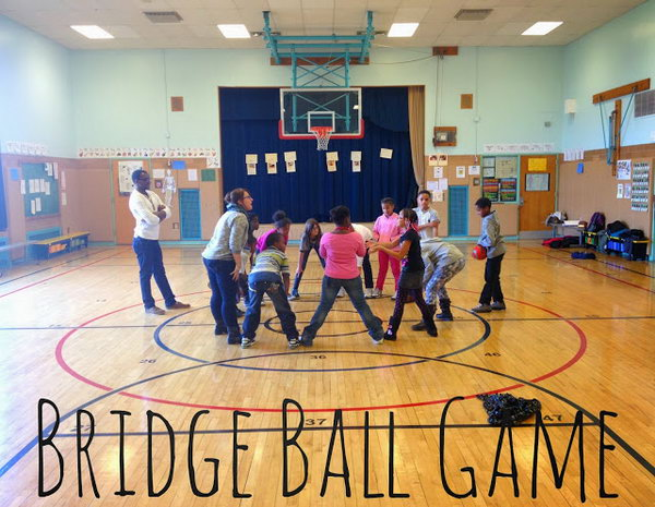 Bridge Ball Game.  This is a great game for students that can even be played in the classroom. All you need is one back and enough space for you group to form a circle. See more directions