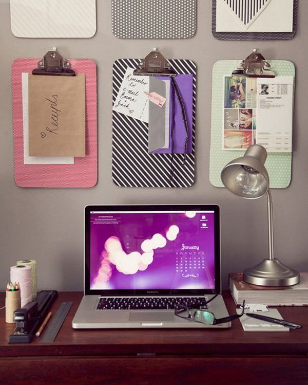 Fabric-Covered Clipboards over Desk for Keeping Important Things in front of You