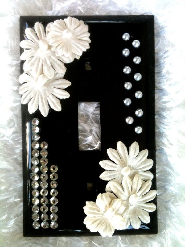 Rhinestones Decorated Light Switch Cover Plate