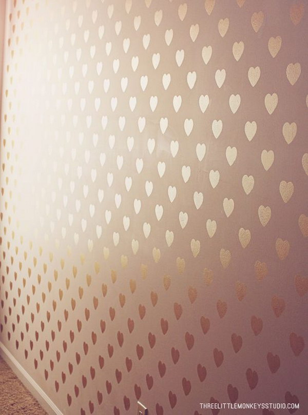 DIY Metallic Gold Stenciled Heart Accent Wall