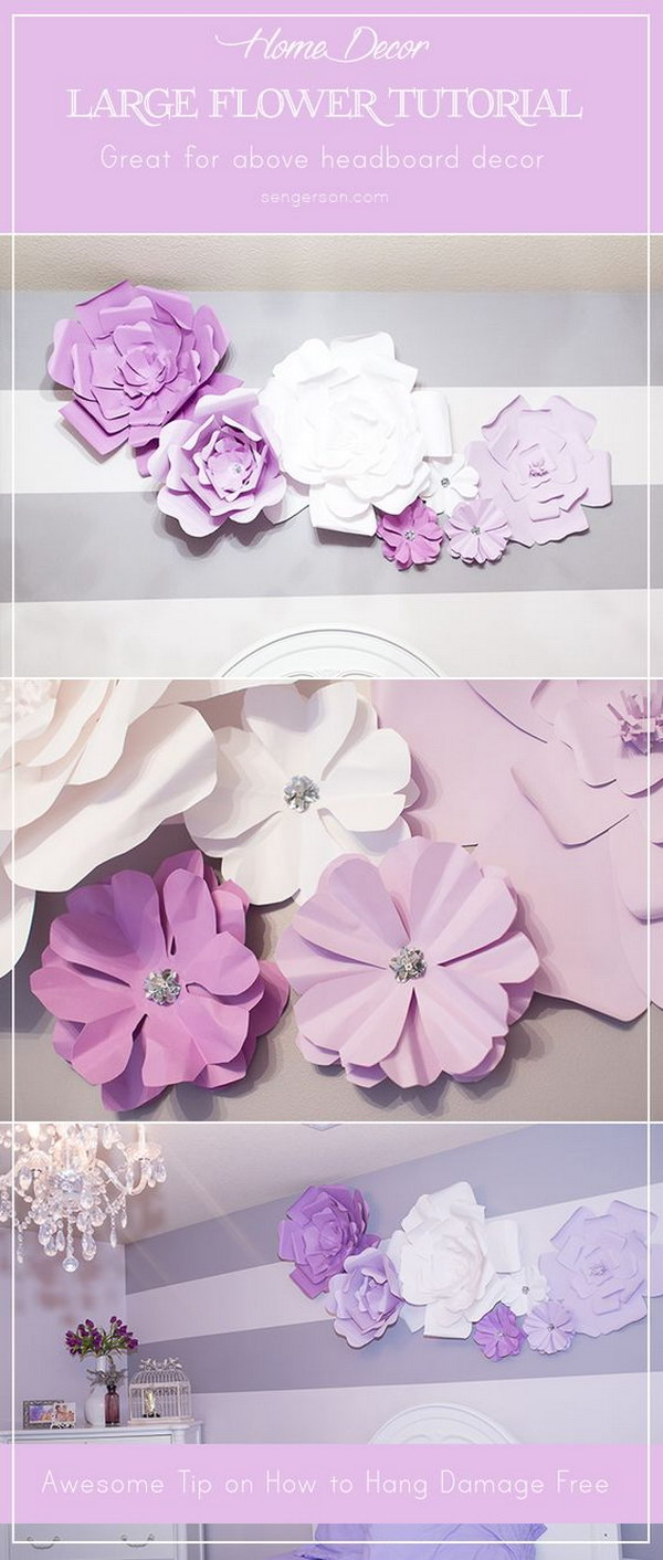 DIY Large Paper Flowers Blooms above Headboard