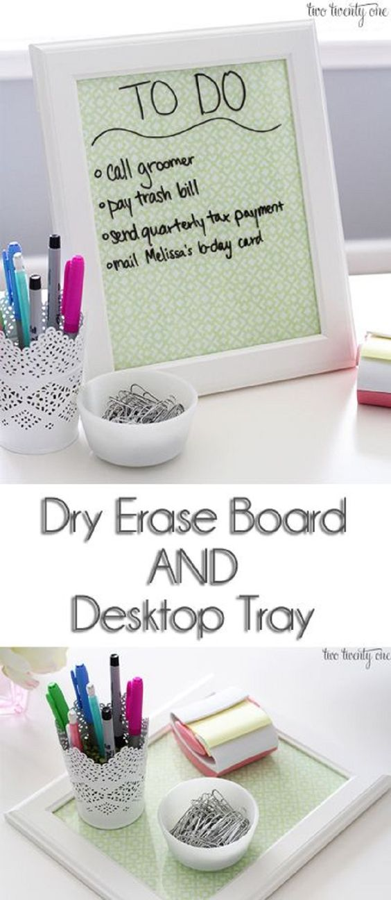 Dry Erase Board and Desktop Tray For Girl Room Storage.