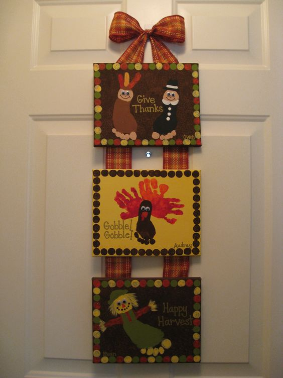 Thanksgiving Handprint & Footprint Canvas Craft.
