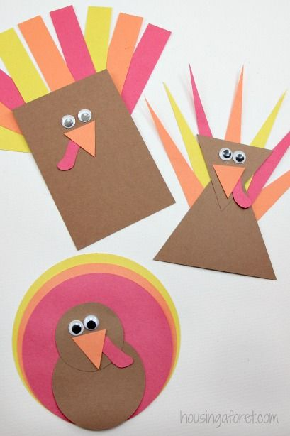 Use Simple Shapes to Create These Adorable Turkeys.
