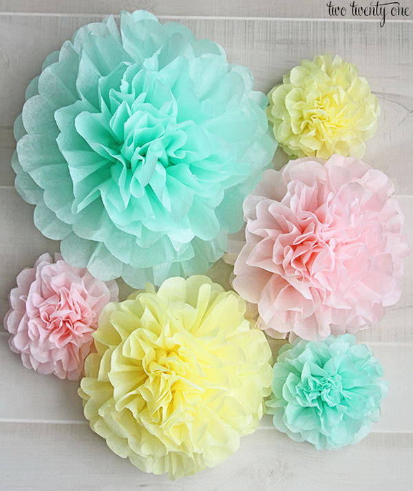 Tissue Paper Pom Poms. These adorable tissue paper pom poms are really easy to make. It can be a good mindless TV watching crafting activity. You can use them on your dessert buffet as a centerpiece for our dining room table.  Get the tutorial