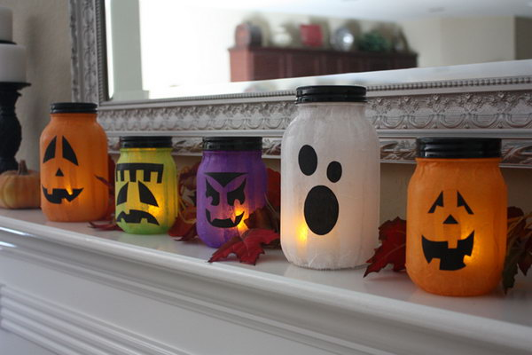 Mason Jar Pumpkin-less Jack-o-Lanterns. These fun pumpkin lanterns are perfect for the Halloween decoration. Get started to make this fun project with your kids for upcoming Halloween party. See the tutorial
