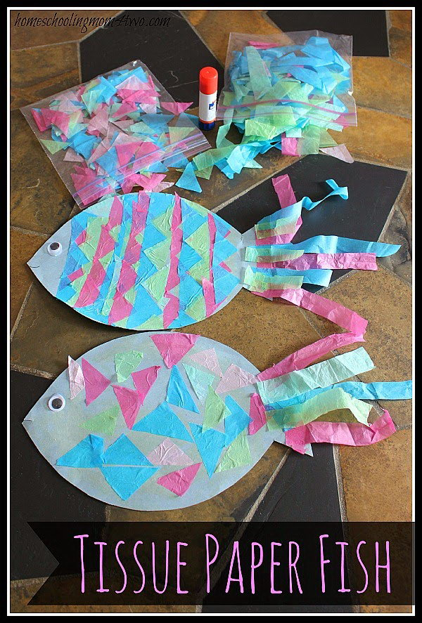 Kids Craft: Construction Paper Fish with Tissue Paper Scales. These simple crafts are lots of fun for the kids to make. You can get all supplies at your local dollar store with less efforts. See the tutorial