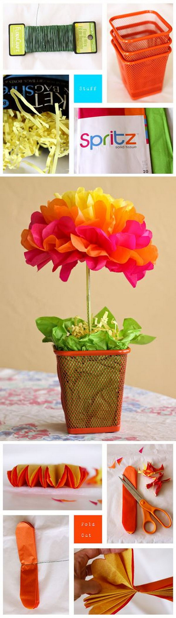 Tissue Paper Flower Centerpieces. Super easy, super inexpensive festive table centerpieces. Get started to make some for your next party with the tutorial
