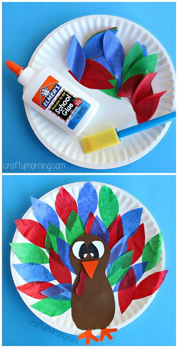Paper Plate Turkey Craft Using Tissue Paper. This pretty easy tissue paper craft can be done by toddlers and preschoolers as well. It is also fun to make for your kids. See the tutorial
