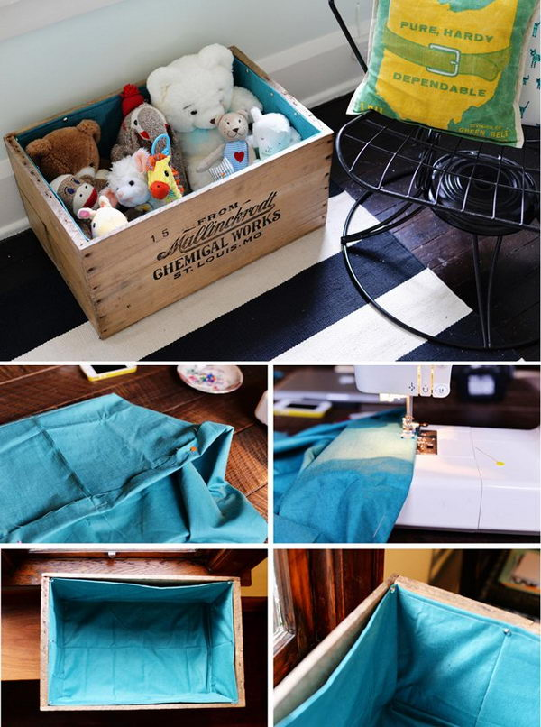 DIY Fabric Lined Toy Box