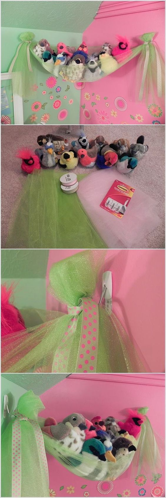 This Fancy Bird's Nest is a Super Easy Stuffed Toy Storage for Girls' Room
