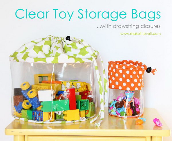 Clear Toy Storage Bags with drawstring closure