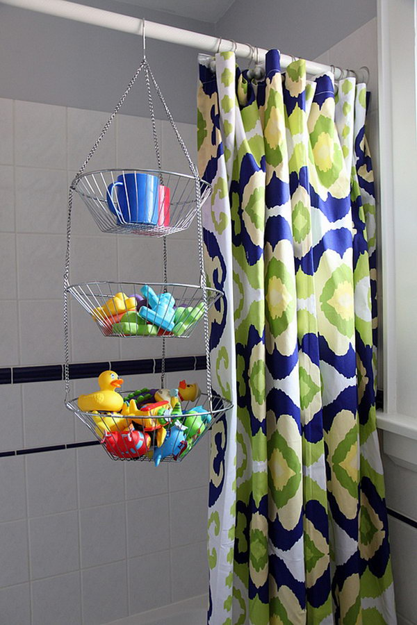 Use Hanging Fruit Baskets In Bathroom For Easy Access