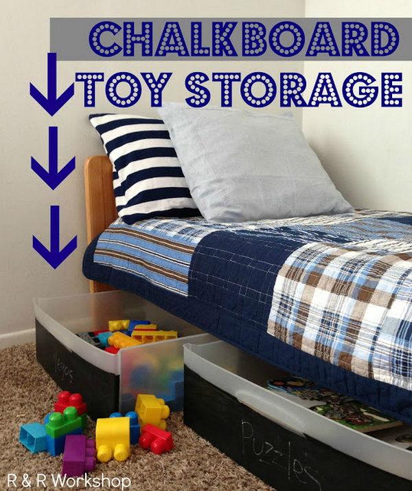 DIY Chalkboard Toy Storage Bins