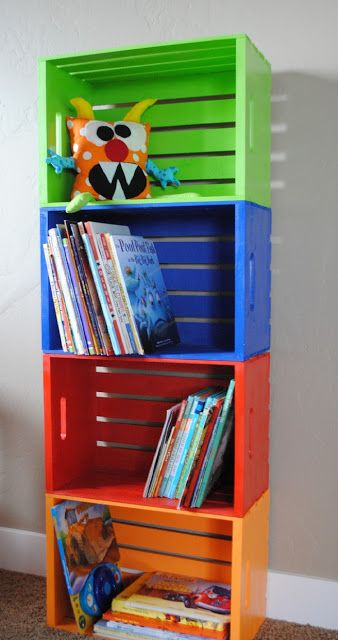 Painted Wood Crate Toy Storage