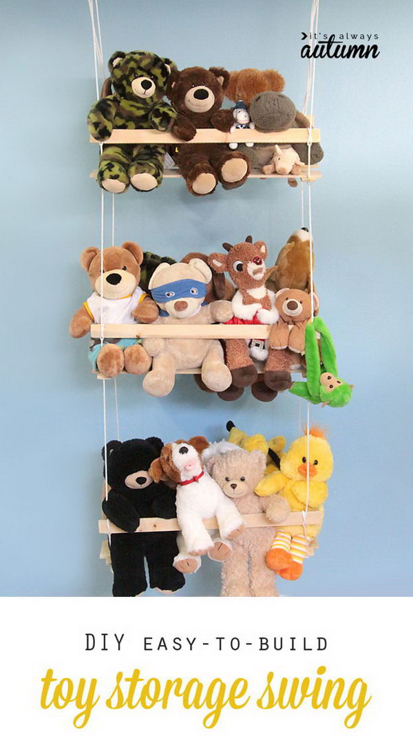Create A Hanging Swing To Store Stuffed Toys