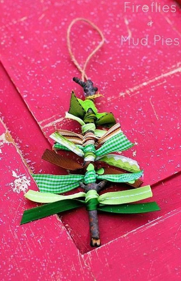 Scrap Ribbon Christmas Tree. Incorporating your kids into the Christmas decoration is an opportunity to use their hands and their brain.