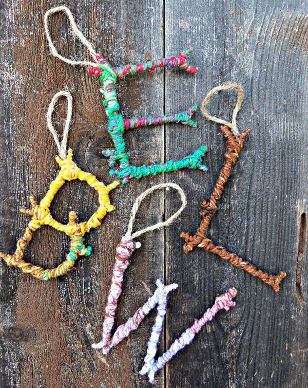 Colorful Yarn Bombed Twigs Letter Ornaments. The pop of color meets the rustic charm of autumn foliage in this yarn twigs letter ornaments.